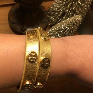 Gold Tory Burch Double Wrap Bracelet W/ Brass Stud